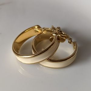 VTG Trifari Gold Tone & Enamel Hoop Earrings